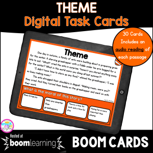 Cover of Boom Cards resource focused on theme skills for 2nd and third grade