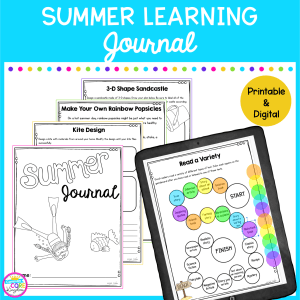 Summer Learning Journal Resource Cover showing print out worksheets of summer fun activities and a tablet showing google slides version