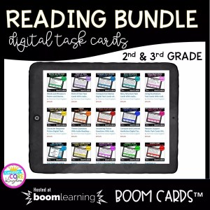 2nd and 3rd grade boom card bundle cover showing different digital task card units available for sale on a tablet