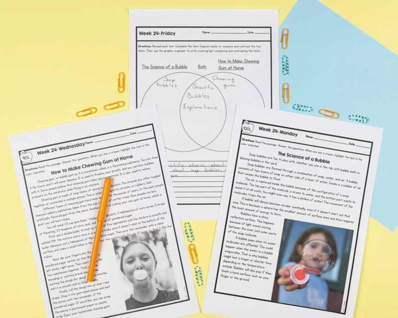 2 passages from 4th grade spiral review 3rd quarter with a venn diagram page comparing the two passages
