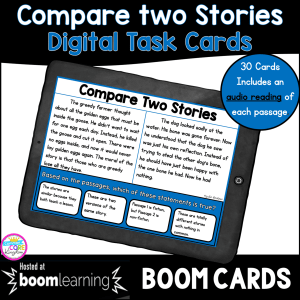Cover for Compare Two Stories skill digital task cards for 2nd and 3rd grade showing a boom card on a tablet