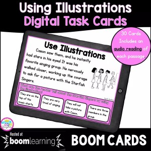 Cover for using illustrations boom cards for 2nd and 3rd grade showing a boom card on a tablet with a purple background