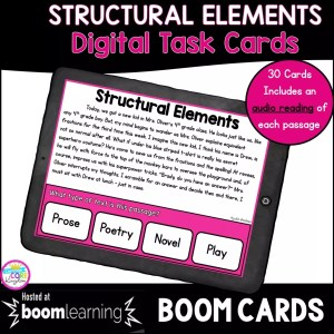 Cover for 4th and 5th grade structural elements in fiction boom cards showing a distance learning task card on a tablet device