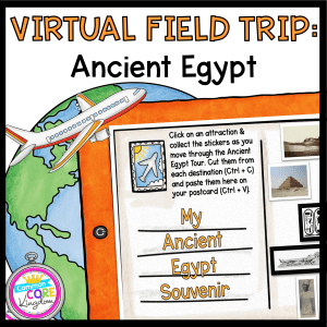 Virtual Field Trip to Ancient Egypt cover showing a tablet with an educational resource on it and a drawing of a plane in front of a drawing of a globe