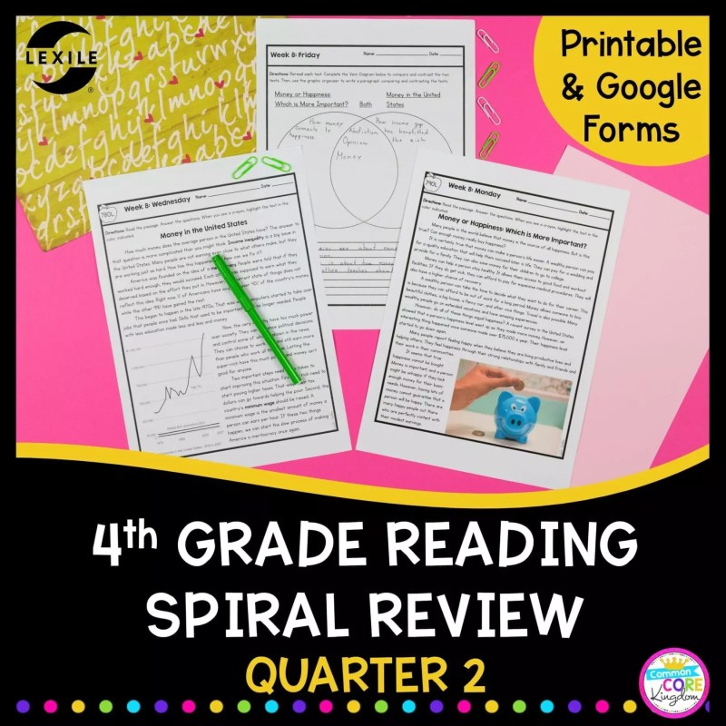 4th grade spiral review cover showing 2 passages and venn diagram