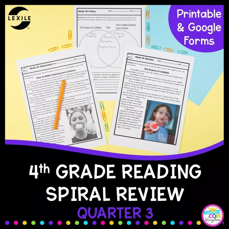4th Grade Reading Spiral Review cover with 2 text passages and a venn diagram
