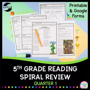 Cover for 5th grade reading comprehension spiral review showing printable and digital reading worksheets