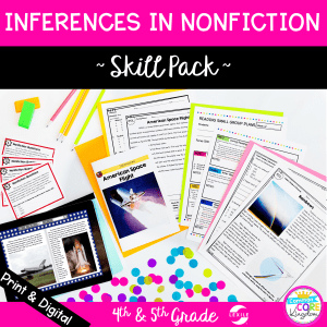 Inferences in nonfiction skill pack cover for 4th and 5th grade showing printable and digital resources with colored paper in the background