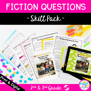 Fiction questions skill pack for 2nd and 3rd grade cover showing digital and printable reading comprehension worksheets