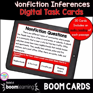 Inferences in Nonfiction Boom Cards for 4th and 5th grade reading comprehension cover showing a passage on a tablet