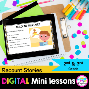 Recount Stories digital mini lessons for 2nd and 3rd grade cover showing a digital anchor chart on a tablet