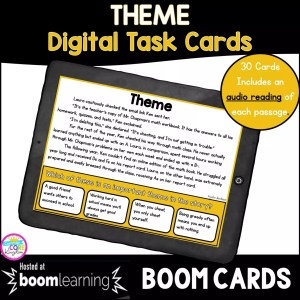 Theme Digital Task Cards for 4th and 5th grade cover showing a boom card on a tablet
