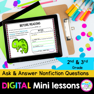Cover for ask and answer nonfiction questions digital mini lessons showing nonfiction text on an ipad