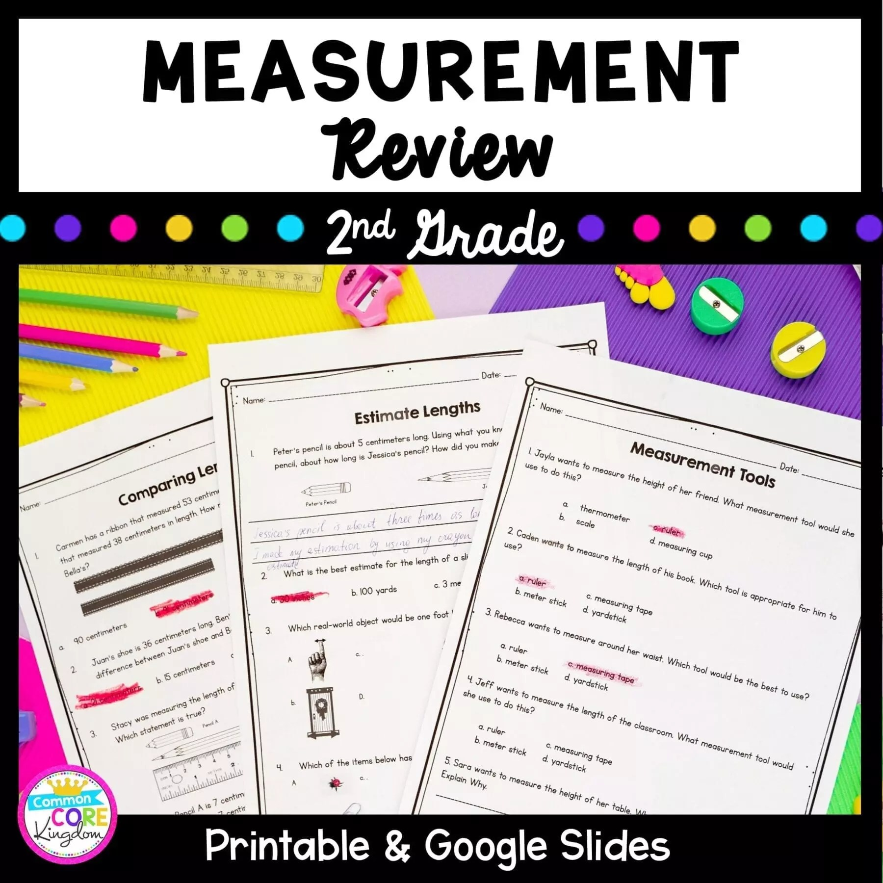 Measurement Review - 2nd Grade Google Slides Distance Learning Pack  Common Core Kingdom