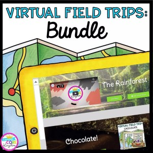 Virtual field trip bundle cover with map showing images of various digital resources
