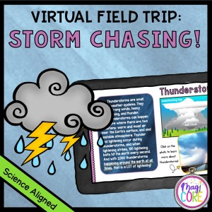 Storm chasing virtual field trip cover showing a tornado on a tablet with text and a map in the background