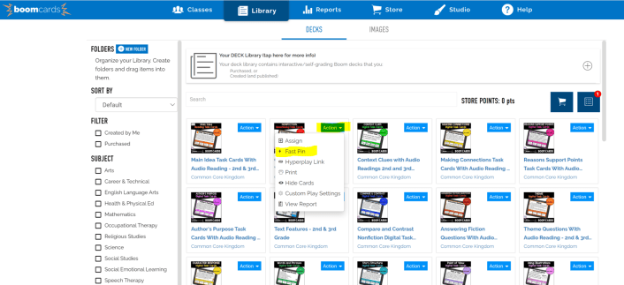 screen shot showing boom learning platform library and how to use the fast play feature in Google Classroom