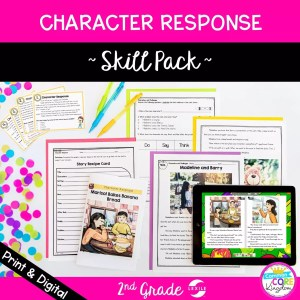 cover of RL.2.3 character response reading comprehension skill pack bundle for 2nd grade showing printable and digital resources