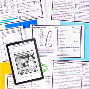 Exit Tickets in digital and printable format for classroom or distance learning spread on table