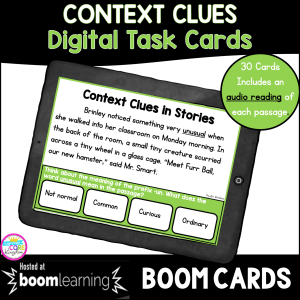 Context Clues Digital Task Cards/Boom Cards cover for 3rd grade showing a digital worksheet