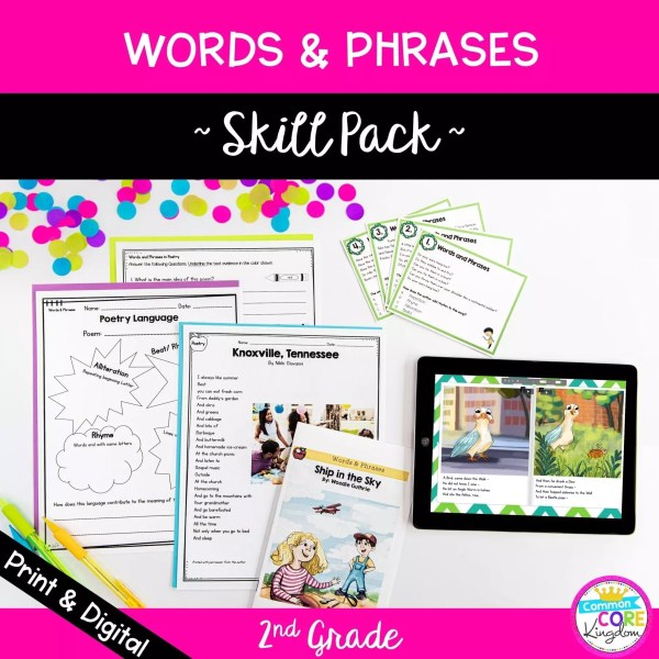 2nd Grade words and phrases skill pack cover showing RL.2.4 resources in printable and digital formats