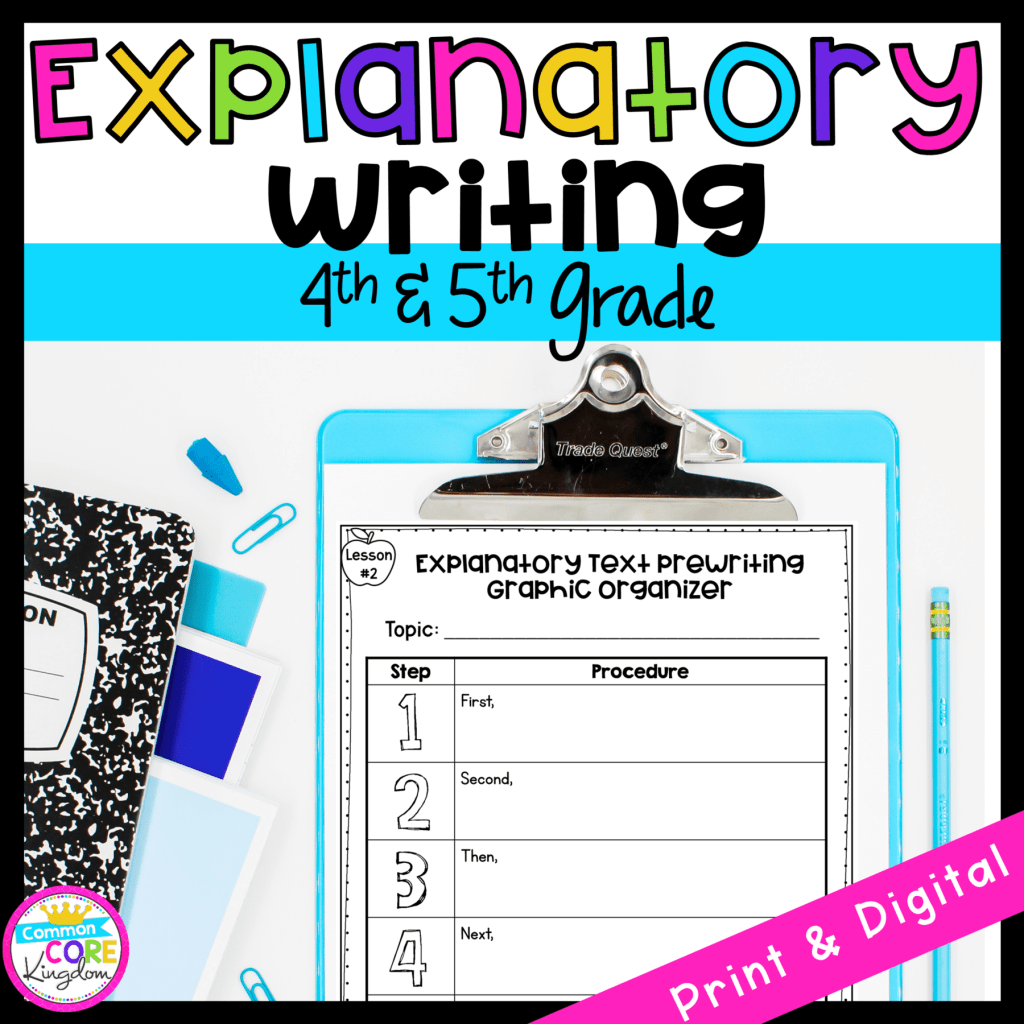 Explanatory Writing cover for 4th and 5th grade showing an organizational worksheet available in digital and printable formats