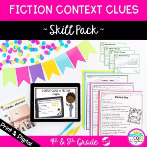 Context Clues for 4th & 5th grade cover showing digital and printable resources for RL.4.4 and RL.5.4 skills
