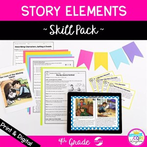 Story Elements Skill Pack Cover showing digital and printable 4th grade resources