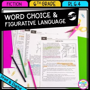 RL.6.4 Word Choice & Figurative Language cover showing 3 passage pages to be printed or accessed digitally