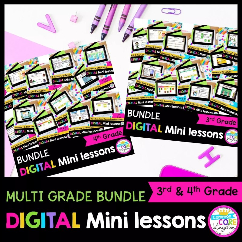 3rd and 4th Grade Digital Mini Lessons Bundle Cover
