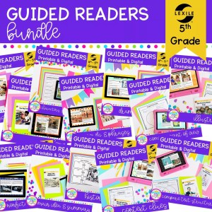 5th Grade Guided Readers Bundle Cover showing multiple product covers with activities available in printable and digital formats