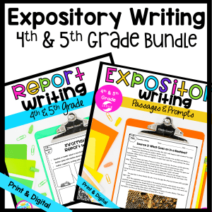 Expository Writing Bundle cover for 4th & 5th Grade showing a passage and organizational chart available in printable and digital formats