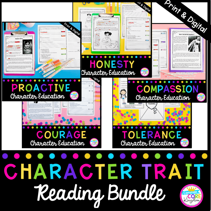 Character Trait Reading Bundle for 2nd - 5th Grades, showing all 5 product covers, available in printable and digital formats