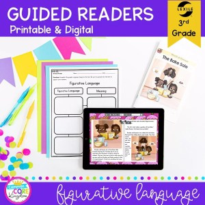 Guided Readers for 3rd Grade - Figurative Language, showing printable and digital worksheets