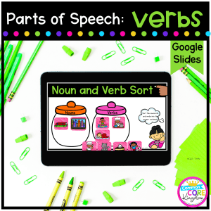Parts of Speech - Verbs cover for 2nd, & 3rd grade showing a digital sorting activity