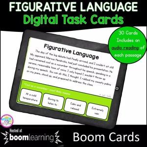 RL.5.4 figurative language boom card set for 4th and 5th grade focused on figurative language cover showing digital task cards
