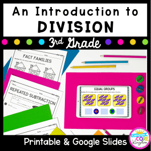 Introduction to Division cover for 3rd grade showing printable and digital worksheets