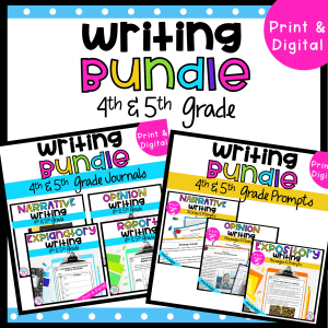 Writing Bundle Cover for 4th & 5th Grade, Including covers for the Journal Bundle and Prompts Bundle available in printable and digital formats
