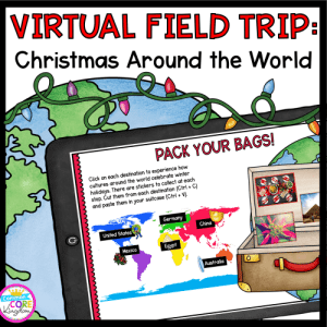 Virtual Field trip cover for Christmas Around the World, showing a digital reading for 2nd - 5th grade