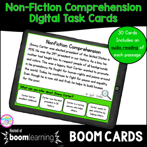 RI.4.10 & RI.5.10 Nonfiction Comprehension Digital Boom Task Card cover showing a google slide with a passage and multiple choice question