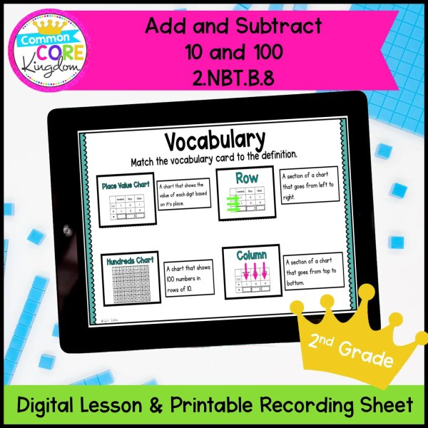 Add & Subtract 10 - 100 Digital Lesson for 2nd Grade