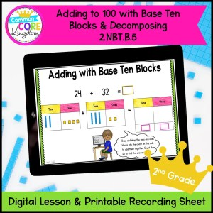Adding Base Ten Blocks & Decomposing Preview in a tablet
