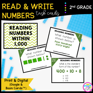 Read & Write Numbers Task Cards for 2nd Grade