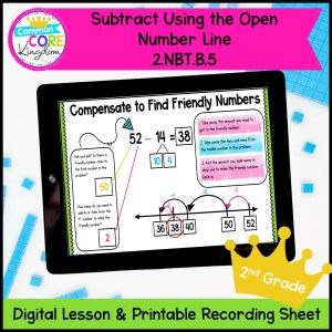 Subtraction on the Open Number Line for 2nd Grade in Digital Format