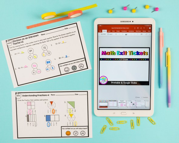 Various math exit tickets in digital and printable formats