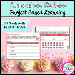 3rd Grade Cupcakes Galore Project Based Learning in Printable & Digital Format