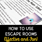 How to use escape rooms to review content blog cover showing image of printable teaching resource and text