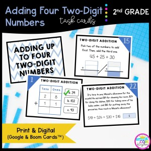 Add Four Two-Digit Numbers Google Slides & Boom Task Cards Format