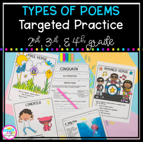 Types of Poems Targeted Practice cover showing different poem styles for teaching poetry.