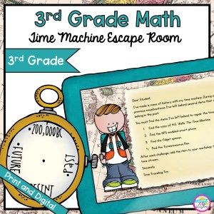 Time Machine Math Time Problems Escape Room for 3rd Grade in Google Slides & Printable Format